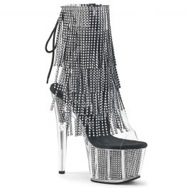 Pleaser DELIGHT-600-23 Platforms Pole Dancing Silver Metallic Pu-Mesh Boots
