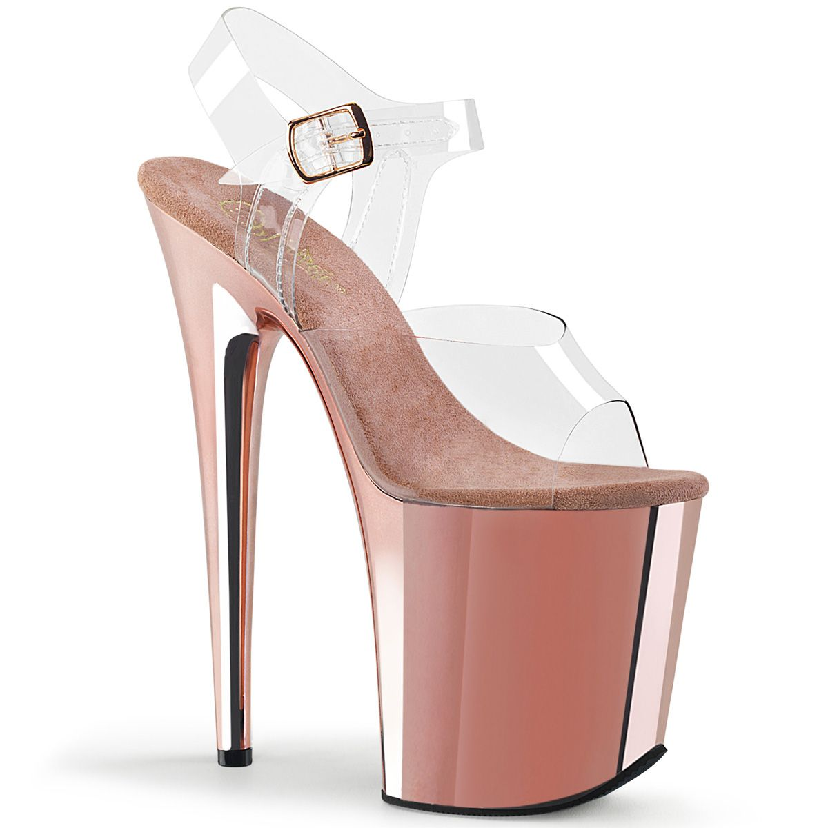 Pleaser FLAMINGO 808 ClearRose Gold Chrome